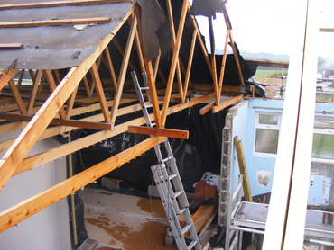 Old trusses ready for crane removal