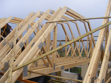 New attic trusses in place